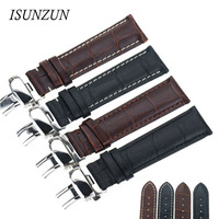 ISUNZUN Men's Watch Band For Original Genuine Leather Watchband Butterfly Buckle Leather Strap 20 22 Universal Watch Straps