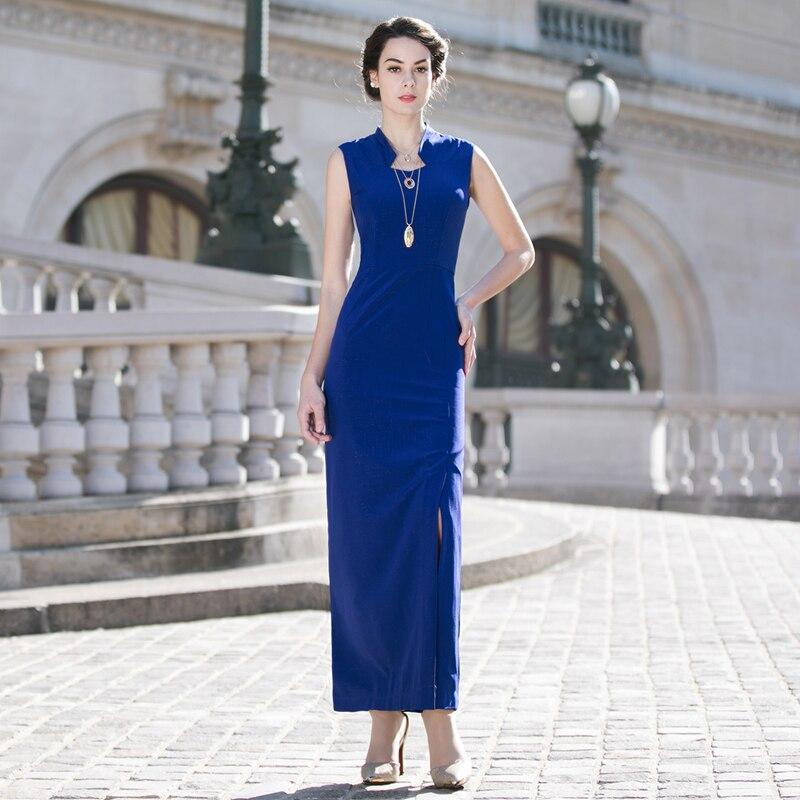 DF S-XXXL Vintage bleu femmes Maxi robe de soirée grande taille d'été sans manches taille mince longues robes Sexy un côté fendu