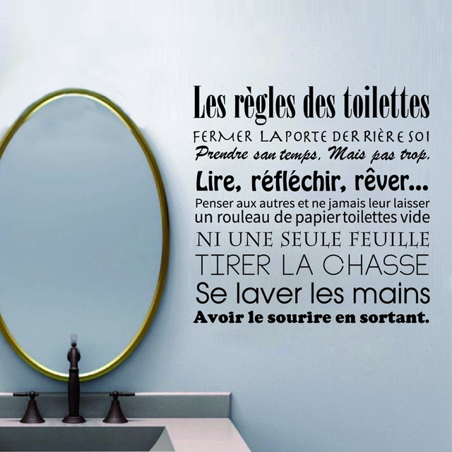 French Bathroom Rules Wall Stickers Waterproof And Removable Toilet Vinyl Decals Mural Art