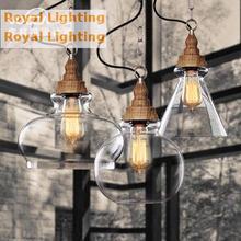 Free shipping retro bar luz de cristal estilo loft país de américa lámpara de comedor cocina industrial de madera colgante de luz fixture