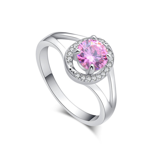 SHUANGR Promotion Oval Pink AAA Zircon Crystal Silver Color Wedding
