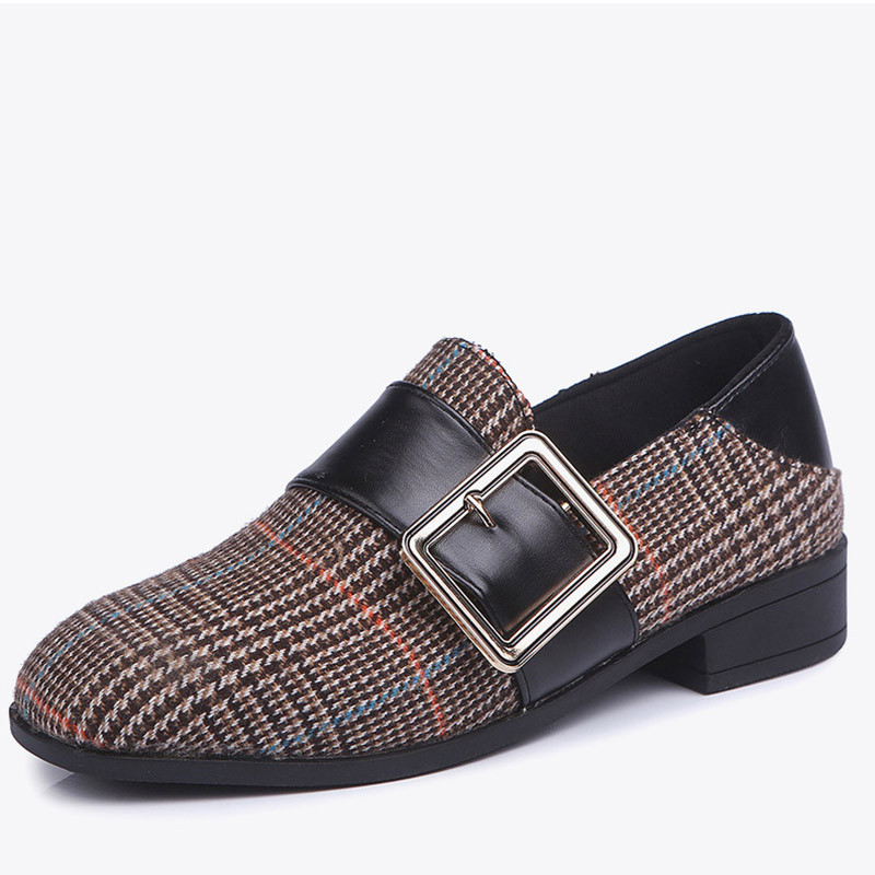 Women Gingham Buckle Low Heels Pumps 2018 New Autumn Ladies Fashion Slip On Plaid Female Flock Casual Shallow Comfort Shoes