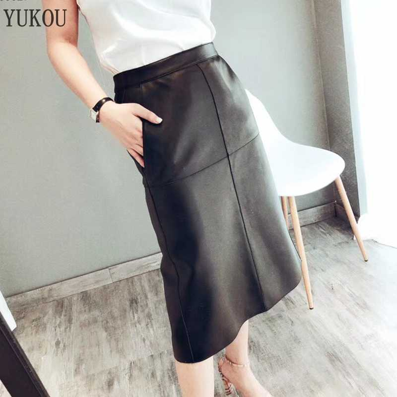 Long Skirt 100% Natural Sheepskin Genuine Leather 2019 Fashion Female Short Design A Real Slim Hip Belt Skirt Black
