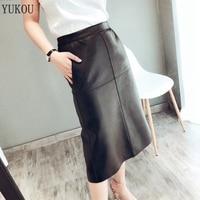 Long Skirt 100% Natural Sheepskin Genuine Leather 2019 Fashion Female Short Design A Real Slim Hip Belt Skirt Black