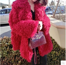 Cherry Red Loose Large Lapel Faux Roll Wool Fur Coat