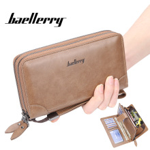 Baellerry Fashion Vintage Men Wallets Long PU Leather Casual Clutch Purse Large Capacity Card Holder Phone Wallet
