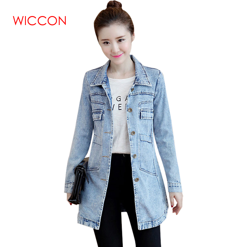2019 Spring Korean Casual Style Denim Jacket Women Slim Long Basic Coat Female Solid Frayed Plus Size Jeans Long Jackets Coat