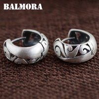 BALMORA 100 Real 990 Pure Silver Jewelry Retro Hoop Earrings For Women Party Gifts Accessories Bijoux