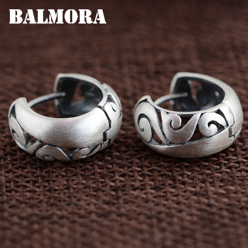 BALMORA 100% Real 990 Pure Silver Hoop Earrings for Women Mother Gifts Retro Fashion Earrings Jewelry Accessories Bijoux SY31287
