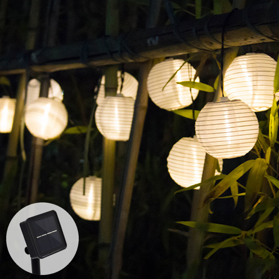 Lampu Solar String Lights Lantern Ball 10/20 LED Solar Garland Outdoor Fairy Lights Lampu Krismas untuk Hiasan Taman