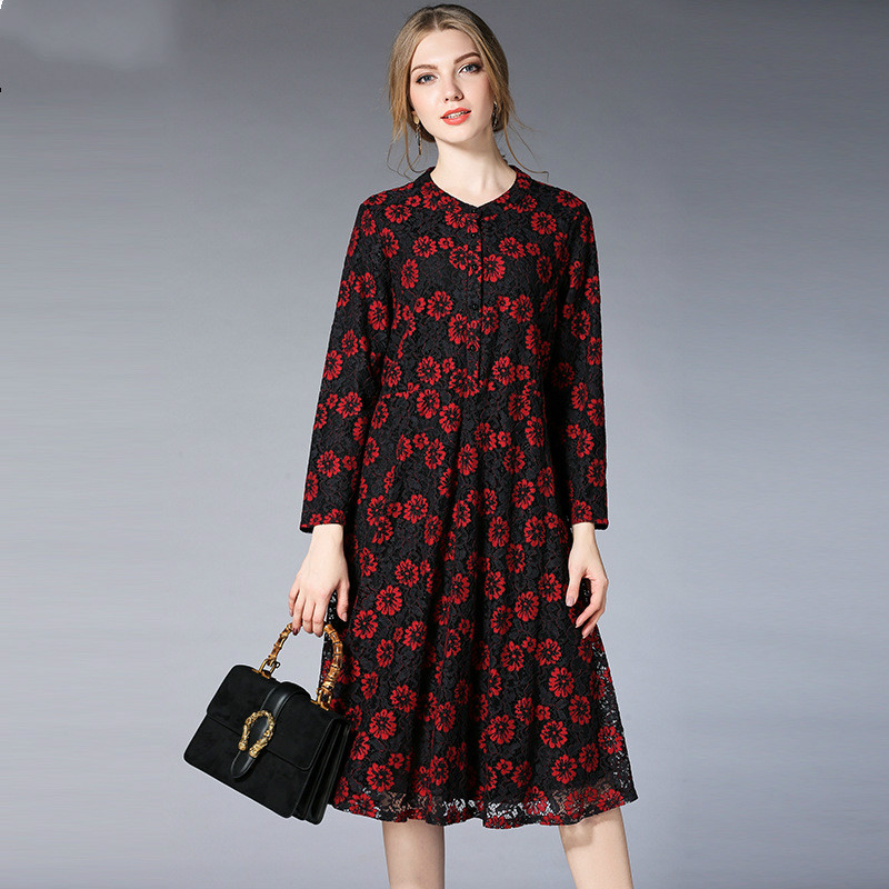 2018Spring Maternity Dress Full Sleeve Lace Pregnant Dress Fashion Pregnancy Clothes ForAge 25-35 Women Floral Maternity Dresses