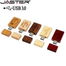 JASTER деревянный блок USB флеш-накопитель красный деревянный Флешка 4 ГБ 8 ГБ 16 ГБ 32 ГБ флеш-накопитель карта памяти U диск Подарок USB 3,0
