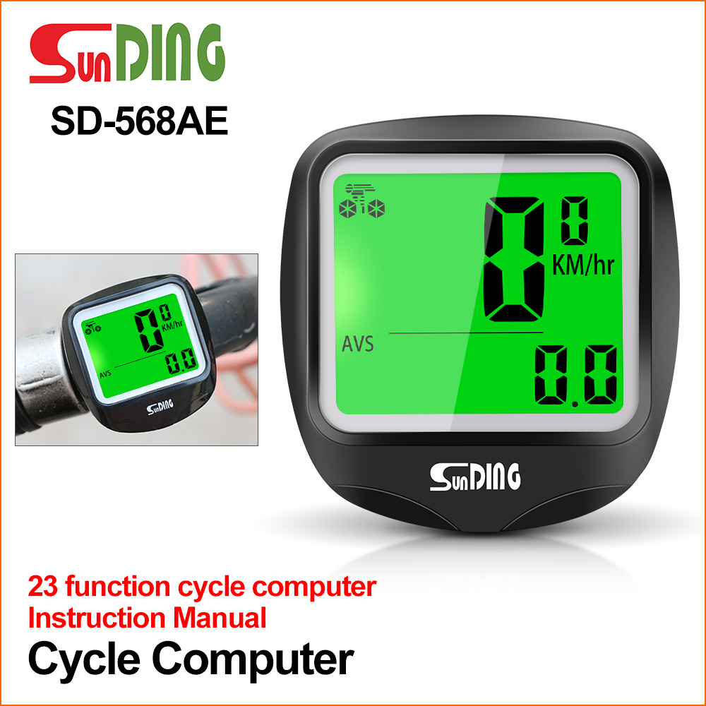Sunding SD-568AE Bike Computer Cycling Computers Bicycle Speedometer Wireless Waterproof Stopwatch Odometer LCD Backlight Black