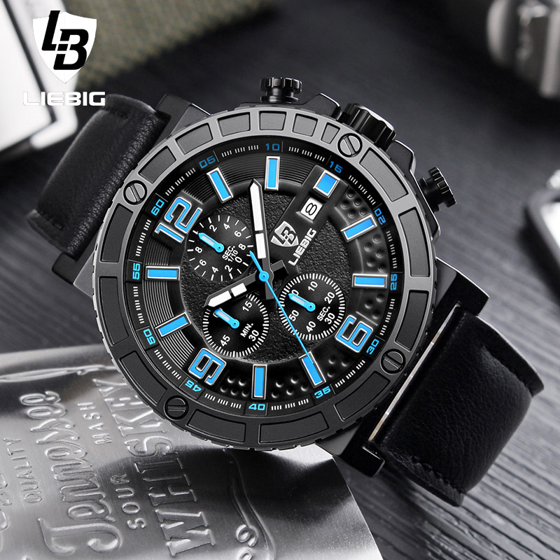 Men Fashion Quartz Sports Watches Men Military Luxury Leather Strap Watch Man 50M Waterproof Male Clock Relogio Masculino LIEBIG hot fashion men sports watchesv6 men quartz watch hour clock man silicone strap military army waterproof wristwatch male relogio