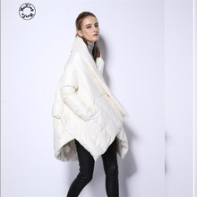 Woxingwosu women's winter down jacket standing long thick loose big fat yards female shawl down coat 2016 european and american female winter hooded down jacket big yards thick warm coat hot new