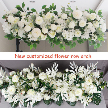 1M DIY Custom Artificial Wedding Flower Wall Backdrop Arrangement Supplies Silk Rose Peony Fake Flowers Row Decoration for Arch