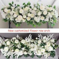 1M DIY Custom Kunstmatige Bruiloft Bloem Muur Achtergrond Arrangement Levert Zijde Rose Pioen Nep Bloemen Rij Decoratie voor Arch
