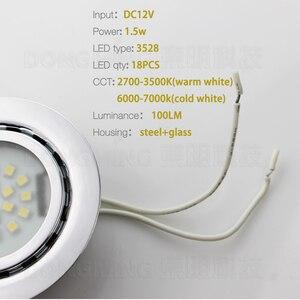 Image 4 - 50 pz 1.5 W 12 V HA CONDOTTO LA luce del punto faretto da incasso freddo bianco caldo Acciaio Inox armadio da cucina armadio vetrina giù la lampada