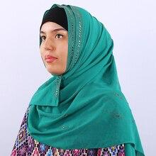 New Exquisite Woman hijab Rhinestone Chiffon Popular Shawls Scarf Headband Muslim Turban Thin Breathable 14 Colors Free Shipping
