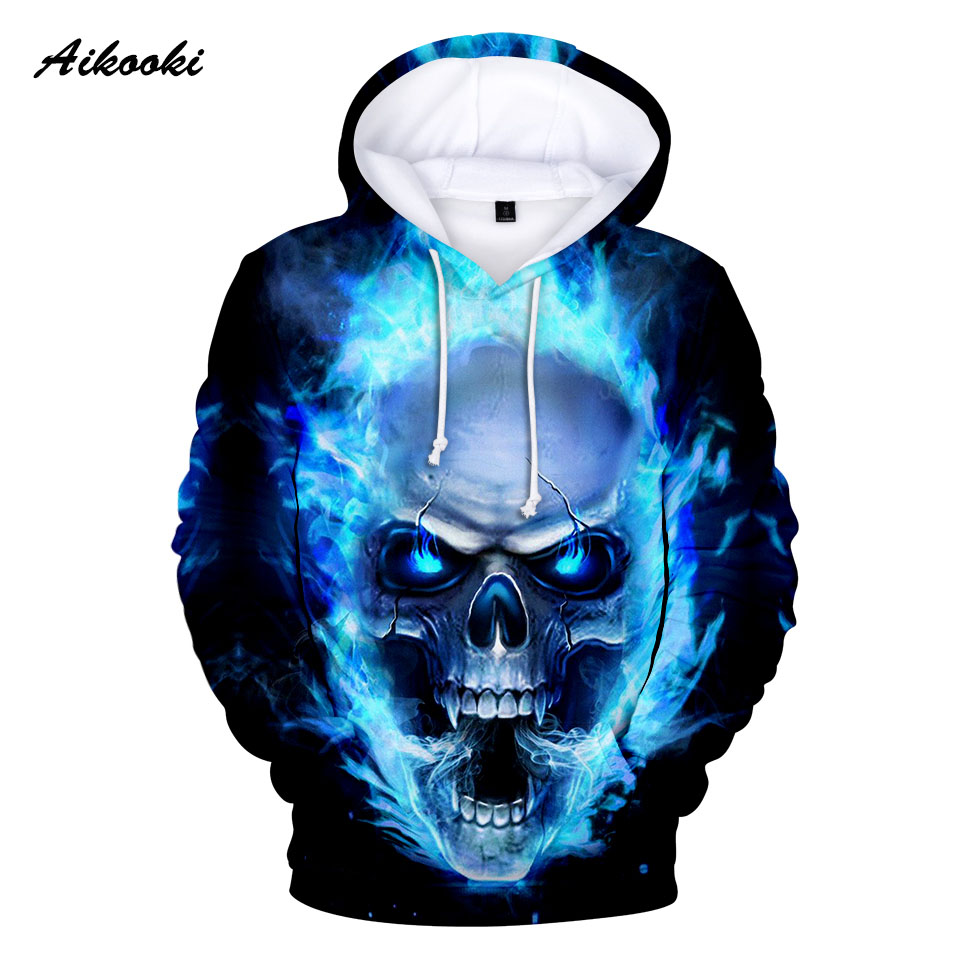 Aikooki 3D Skull Sweatshirts Hoody 3d-Print Blue Men/women Tops Fire-Design Autumn Hot