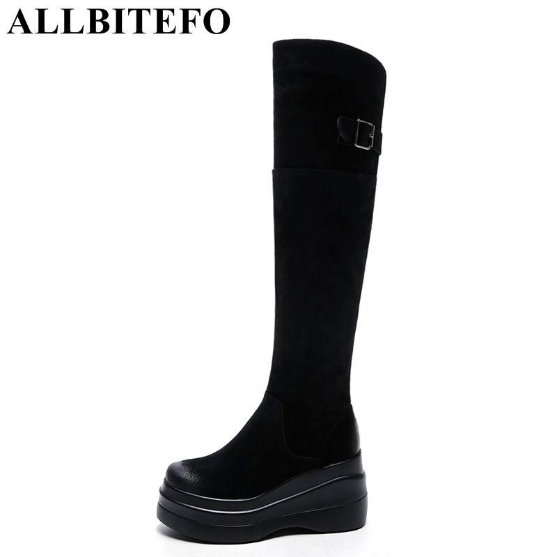 ALLBITEFO new winter Nubuck leather high heels platform women knee high boots wedges heels Stretch boots women boots girls boots