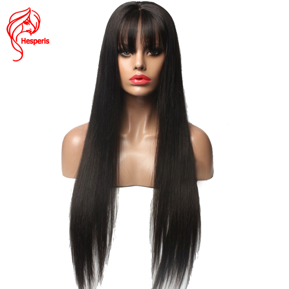 Hesperis Brazilian Remy Hair Glueless Full Lace Wigs With Bangs Silky Straight Full Lace Human Hair