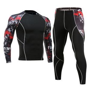 Image 2 - 男性のジム服ジョギングスーツ圧縮 mma rashgard 男性ロングジョンズ冬熱下着スポーツスーツブランド服 4XL
