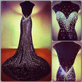 Hot Good Quality 2017 Mermaid Evening Dresses Scoop Sleeveless Backless Court Train Crystal Sequins Formal Party Gown