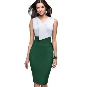 Image 3 - Nice forever vestido elegante para trabalho, feminino, para o verão, colado, vintage, plissado, para escritório, b529