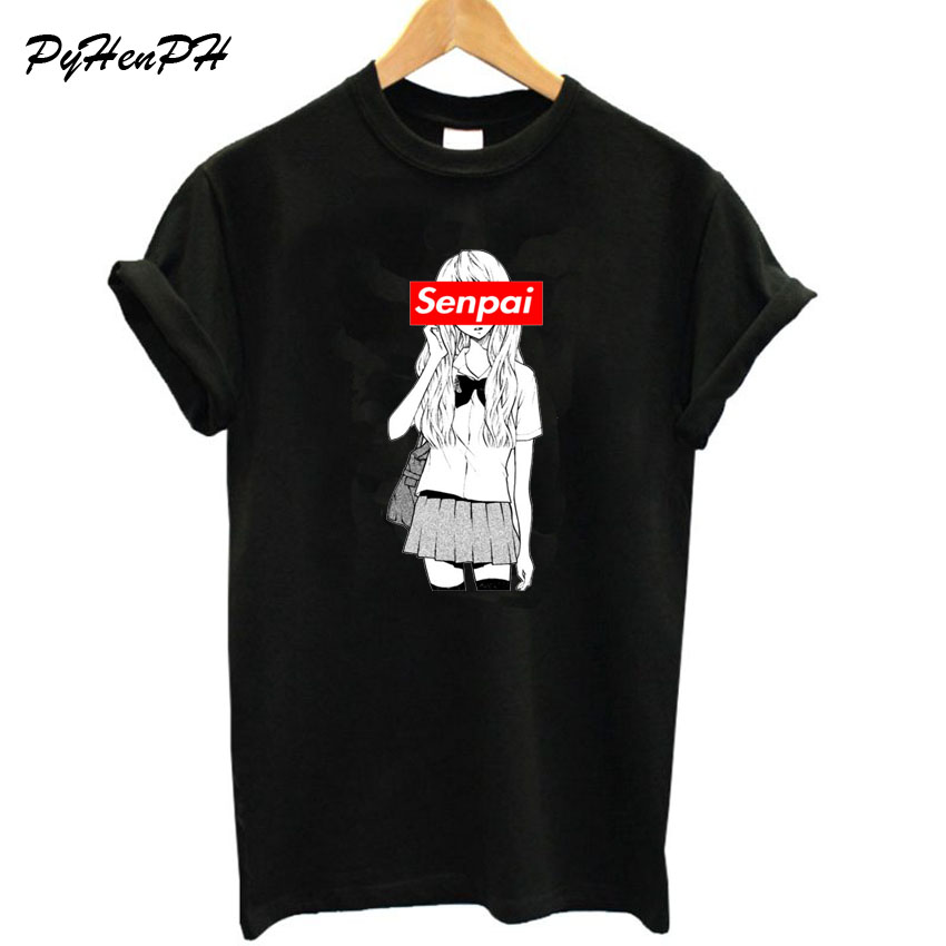 New 2018 T shirt Women O-neck Short Sleeve Senpai T-Shi Big Size Loose Style Cotton T-shirt Tops Tee Shirt Femme Tumblr Clothing