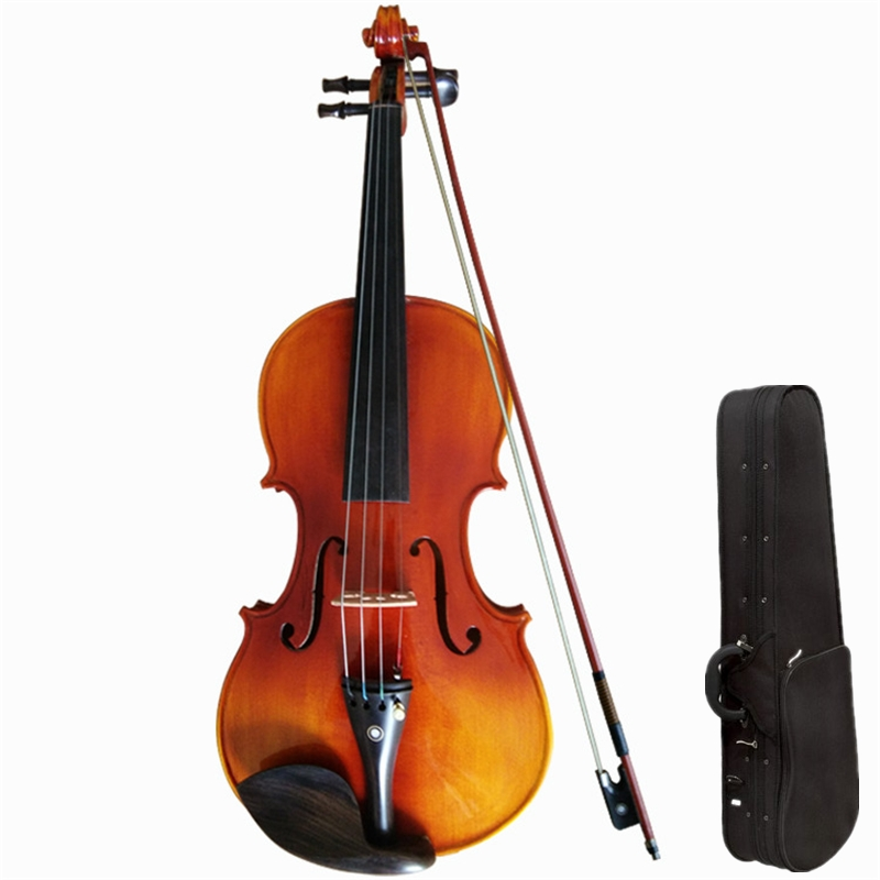 Solo Violin 4/4 Maple Violin 1/2 3/4 Antique Matt High grade Handmade Acoustic Violin Fiddle Case Bow Professional performan