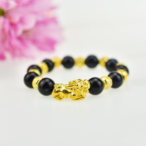 Natural Stone Double Brave Troops Black Obsidian Bracelet With Tiger Eye And Pixiu Lucky Charms Women And Men Jewelry