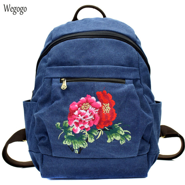 2018 New Women Backpack Chinese Peony Embroidered Canvas Shoulder Bag  Female Simple Schoolbag Large Capacity Travel Rucksack ebc106401be0e