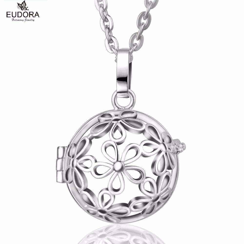 2018 New Eudora 20mm Daisy Flower Harmony Bola Cage Pendant Aromatherapy Locket Pendant Necklace for Pregnant Women Jewelry Gift