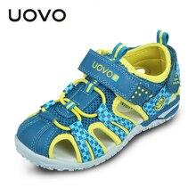 UOVO 2020 yaz çocuk ayakkabı moda çocuk sandaletleri erkek ve kız için kanca ve döngü cut çıkışları yaz plaj sandaletleri boyutu 26 # 36 #