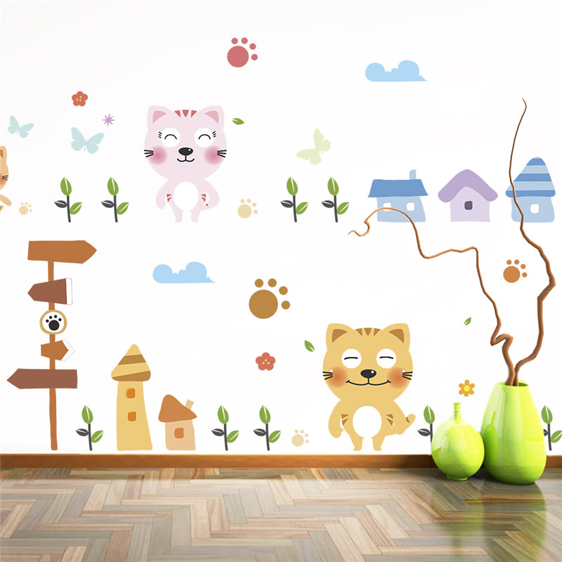 sweet cats home wall stickers for kids room wall decals DIY home decor decoration poster mural