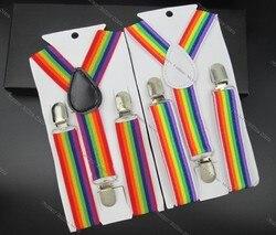 Bd011-модные детские подтяжки в радужную полоску, подтяжки 2,5*65 см, 3 зажима, аксессуары для детской одежды