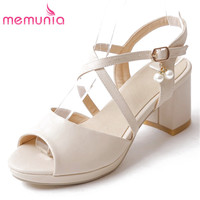 MEMUNIA 2017 Summer Shoes Women Pumps Women High Heels Sandals Prom Shoes Square Heels Peep Toe