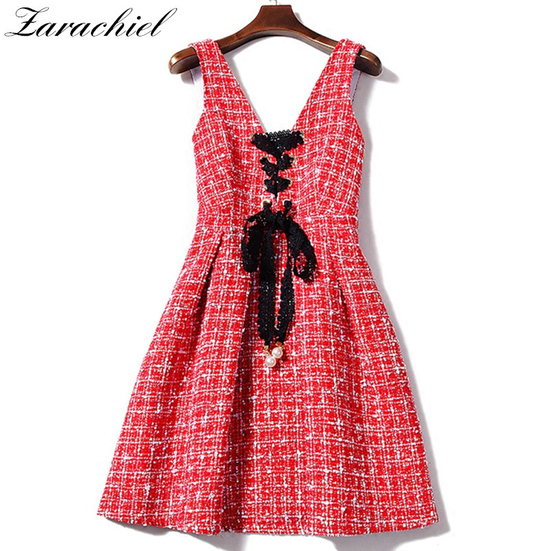 Small Fragrant Brand Women Dress 2019 Autumn Tweed Wool V-Neck Sleeveless Backless Lace-Up Red Plaid Vest Dress Overalls Dress