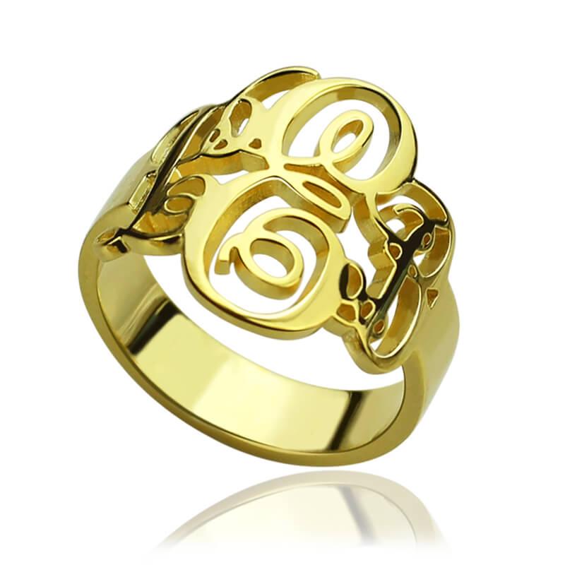 anillo con monograma iniciales via del monograma nombre del monograma del anillo anillo de oro