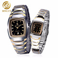 BINLUN 18K Gold Tungsten Steel Couple Watches Rectangle Diamond Decoration Pair Watches With Date Women Quartz Watch Waterproof