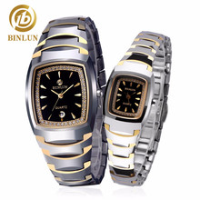 BINLUN 18K Gold Tungsten Steel Couple Watches Rectangle Diamond Decoration Pair Watches With Date Women Quartz Watch Waterproof
