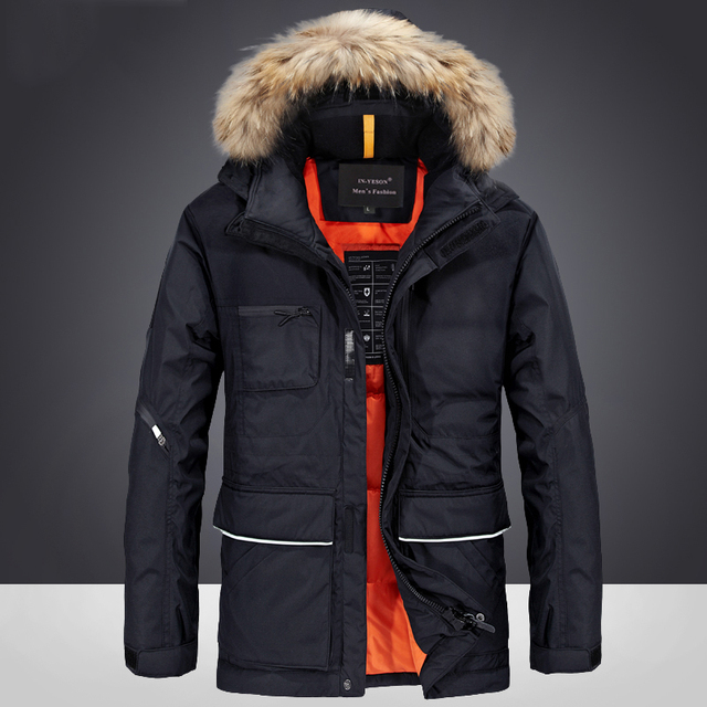 721e2248cad6d Бренд Пуховик с утиным пухом зимние мужские куртки мужчины высокое качество  меховой воротник пуховик утепленные мужские