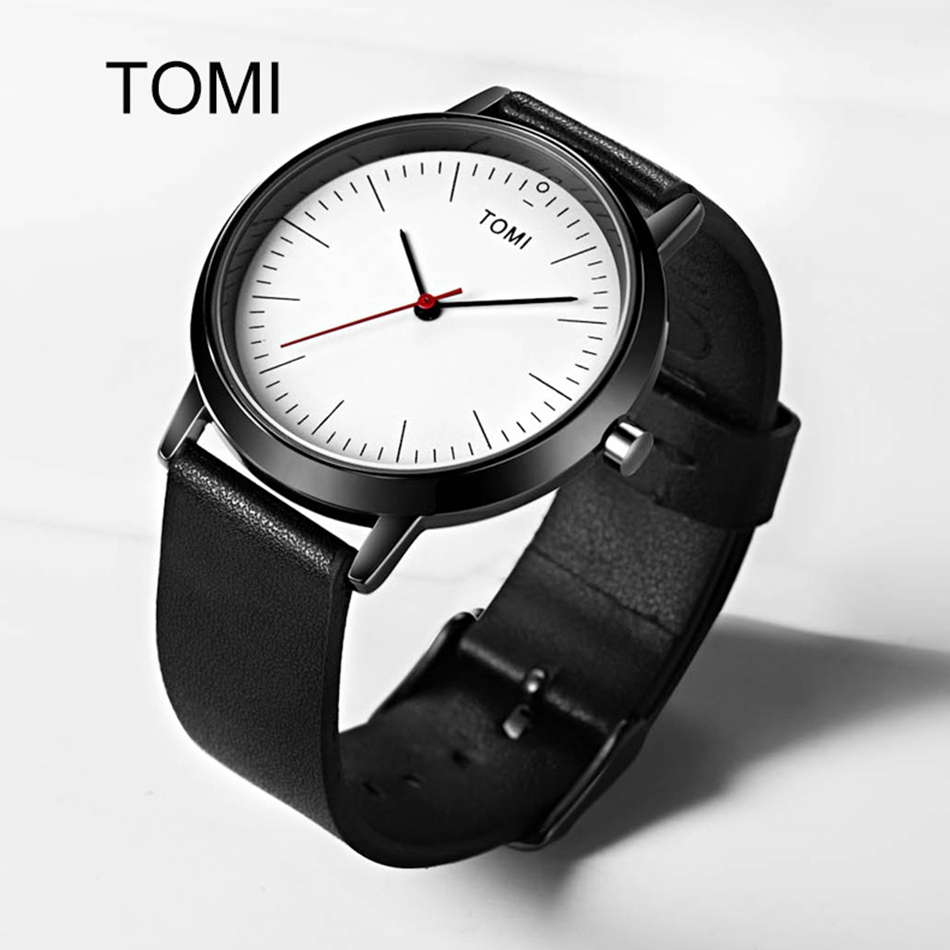 Tomi Brand Watches For Men Luxury Black Leather Strap Casual Business Dress Quartz Wristwatch Fashion Male Relogio Masculino tomi mens watches top brand luxury men business sport leather strap watch dress vintage style quartz wristwatch relogio t017