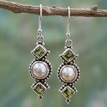Изысканные креативные Женские квадратные серьги оливково зеленые