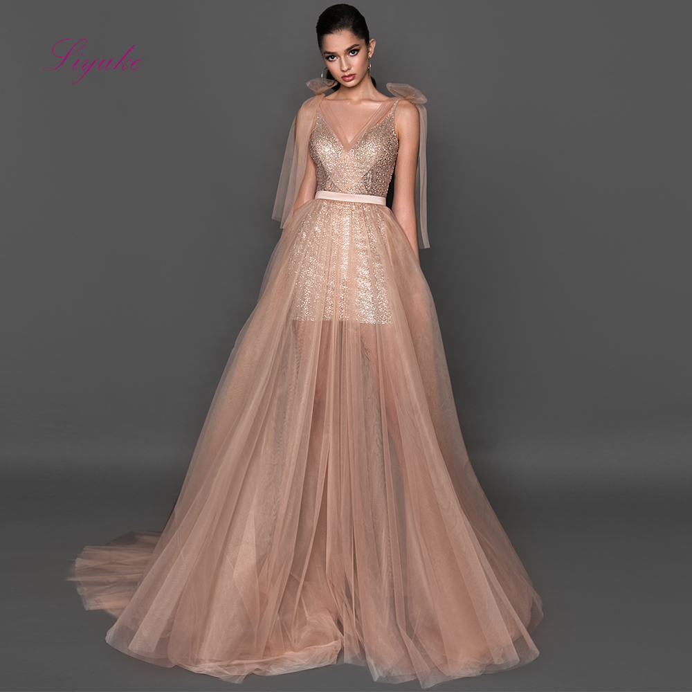 Liyuke A-line   Evening     Dress   Two-pieces Tulle Spaghetti Straps Elegant   Evening   Gown Customized Floor Length