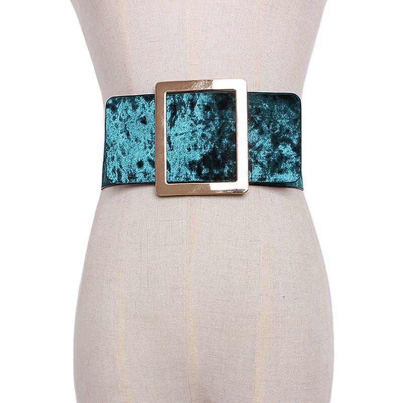 חדש מותג עיצוב קטיפה רחב מותניים חגורות לנשים שמלה סיבתי מחוך חגורת גדול מתכת אבזם אבנט אבנטי אבזרים