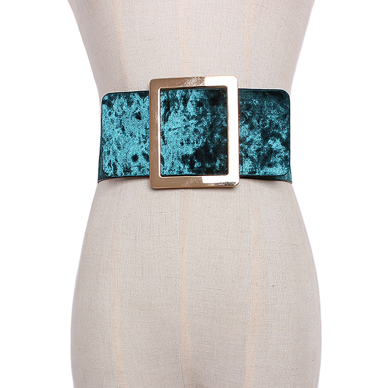 new brand design Velvet wide Waist Belts For Women Dress causal Corset Belt Large metal Buckle Girdle Cummerbunds accessories