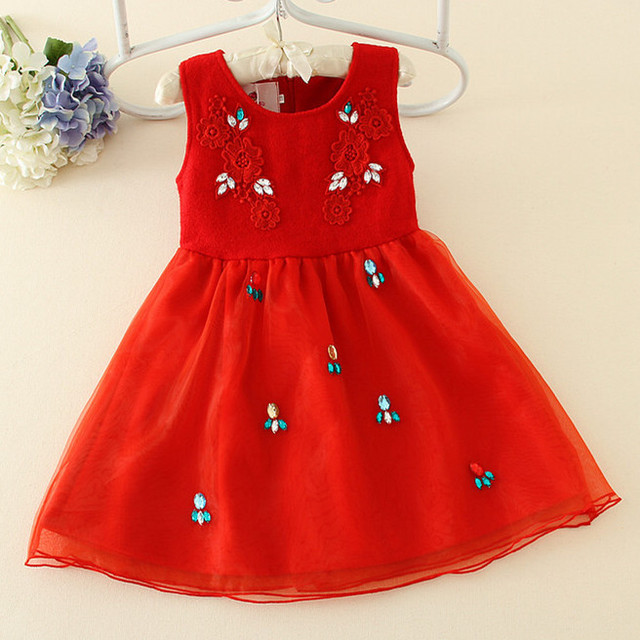 e87587a7dff New Arrival Princess Spring Girl Dress Drill Red Sleeveless Children  Dancing Dresses For 3-12Y