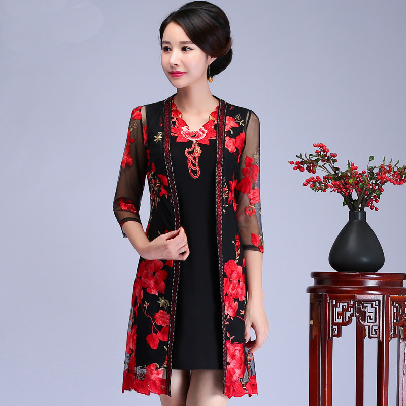 Grande taille 4XL Mère Vêtements 2 pièces Gilets & Châle Élégant Mariage Chemise Blouse De Broderie Traditionnelle Chinoise Fleur Vêtements